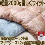 羽毛布団京都西川100超長綿ポーランドマザーグース430dp