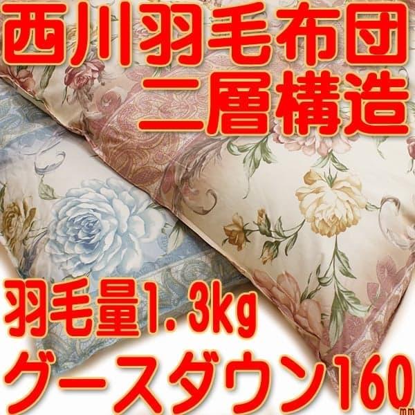 西川二層ハンガリー産グース羽毛布団kn-4d4227